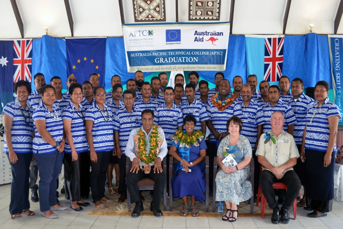 Students who graduated wiith Australian qualifications under the EU-funded Training Support to the Fijian Sugarcane Industry Project in Labasa today.