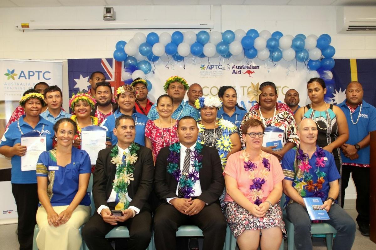 Deputy Minister Menke applauds APTC graduates in Nauru