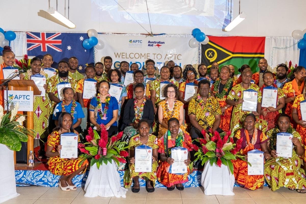 Proud APTC graduates after receiving their certificates at the graduation ceremony in Port Vila, Vanuatu.