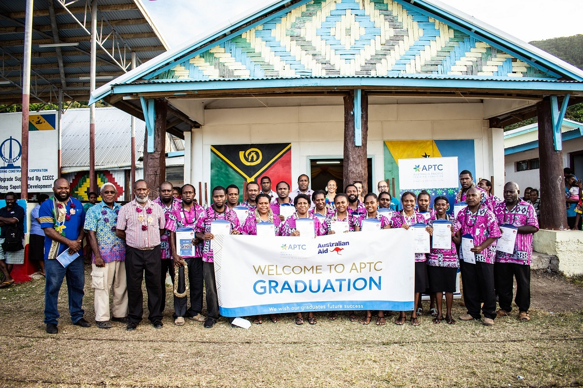 Proud moment for 20 school principals and provincial education officials in Vanuatu as they received their Australian qualification in Leadership and Management in Lakatoro..