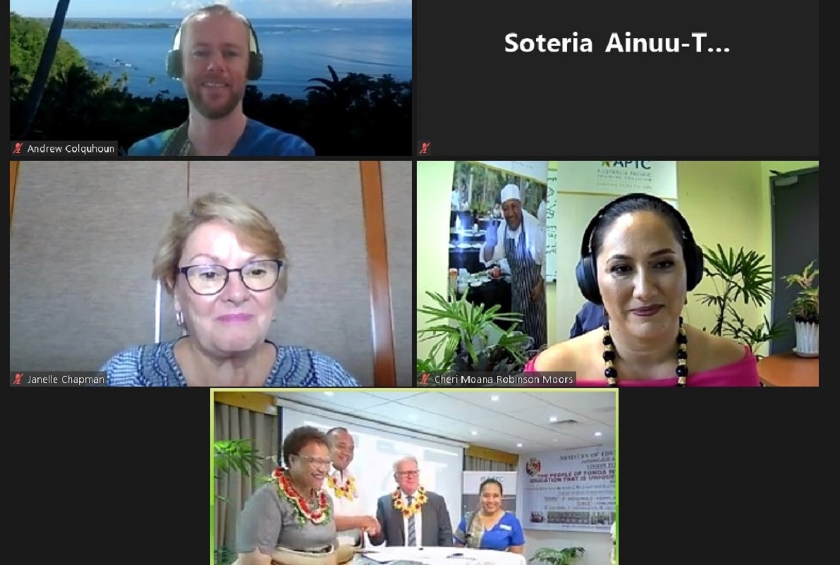 Virtual partnership signing between the Tongan Ministry of Education and Training (MET) and the Australia Pacific Training Coalition (APTC).